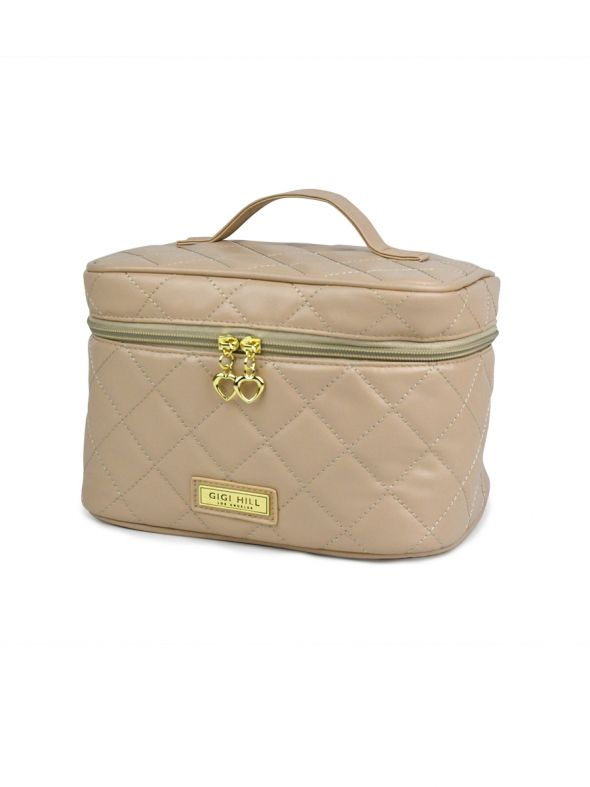 Lucille Quilted Tan Train Case